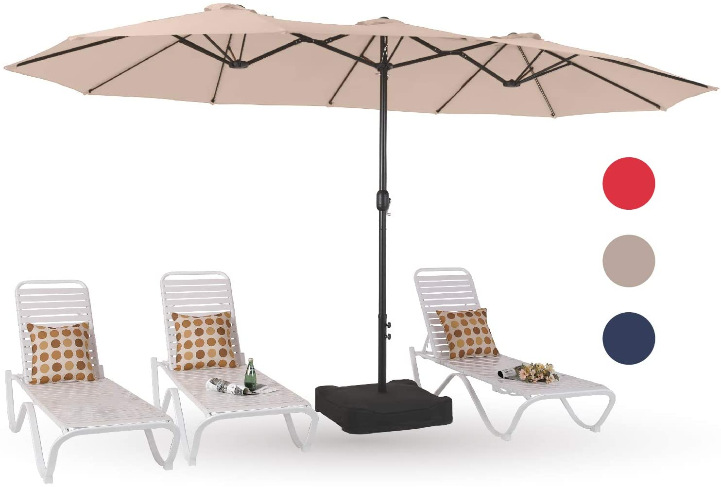 Phi Villa 15ft Patio Umbrella Double Sided Outdoor Market Extra Large Umbrella With Crank Umbrella Base Included Beige Garden Outdoor