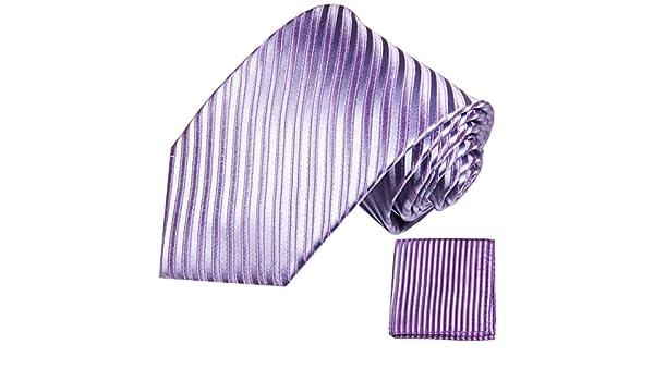 P.M. Krawatten Paul Malone Corbata de seda lila púrpura + pañuelo ...