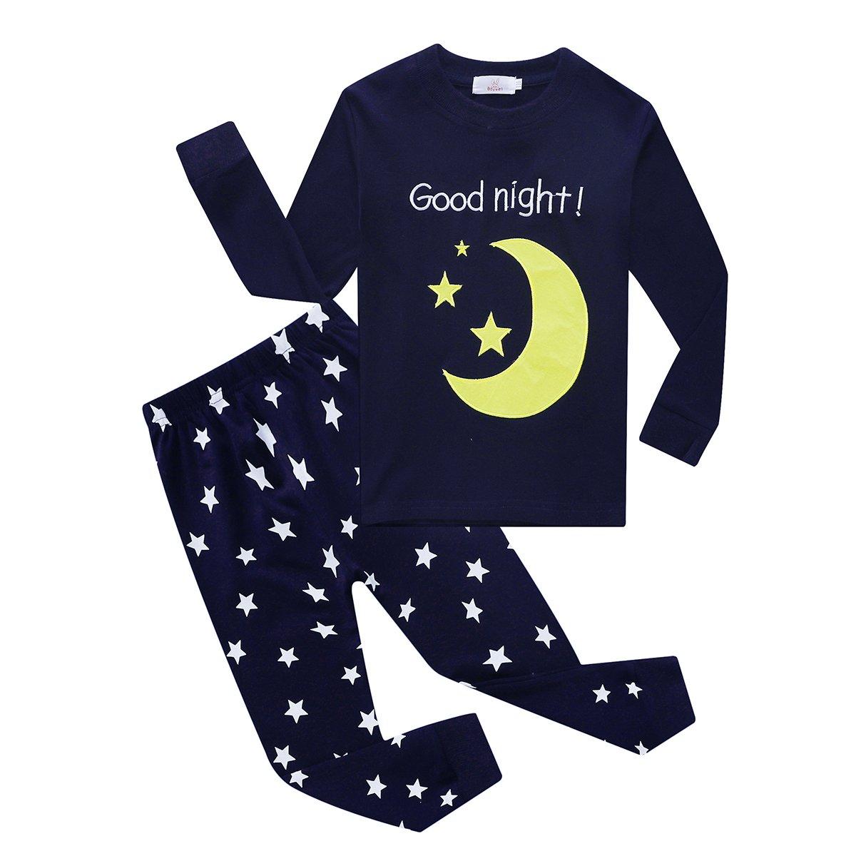 Baywell Kids Comfortable Cotton Pajamas Boys Girls Embroidered Good Night Moon Star Pajamas Set 1-8Y