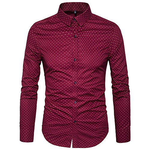 MUSE FATH Men's Printed Dress Shirt-100% Cotton Casual Long Sleeve Shirt- Button Down Point Collar Shirt-Wine Red-2XL