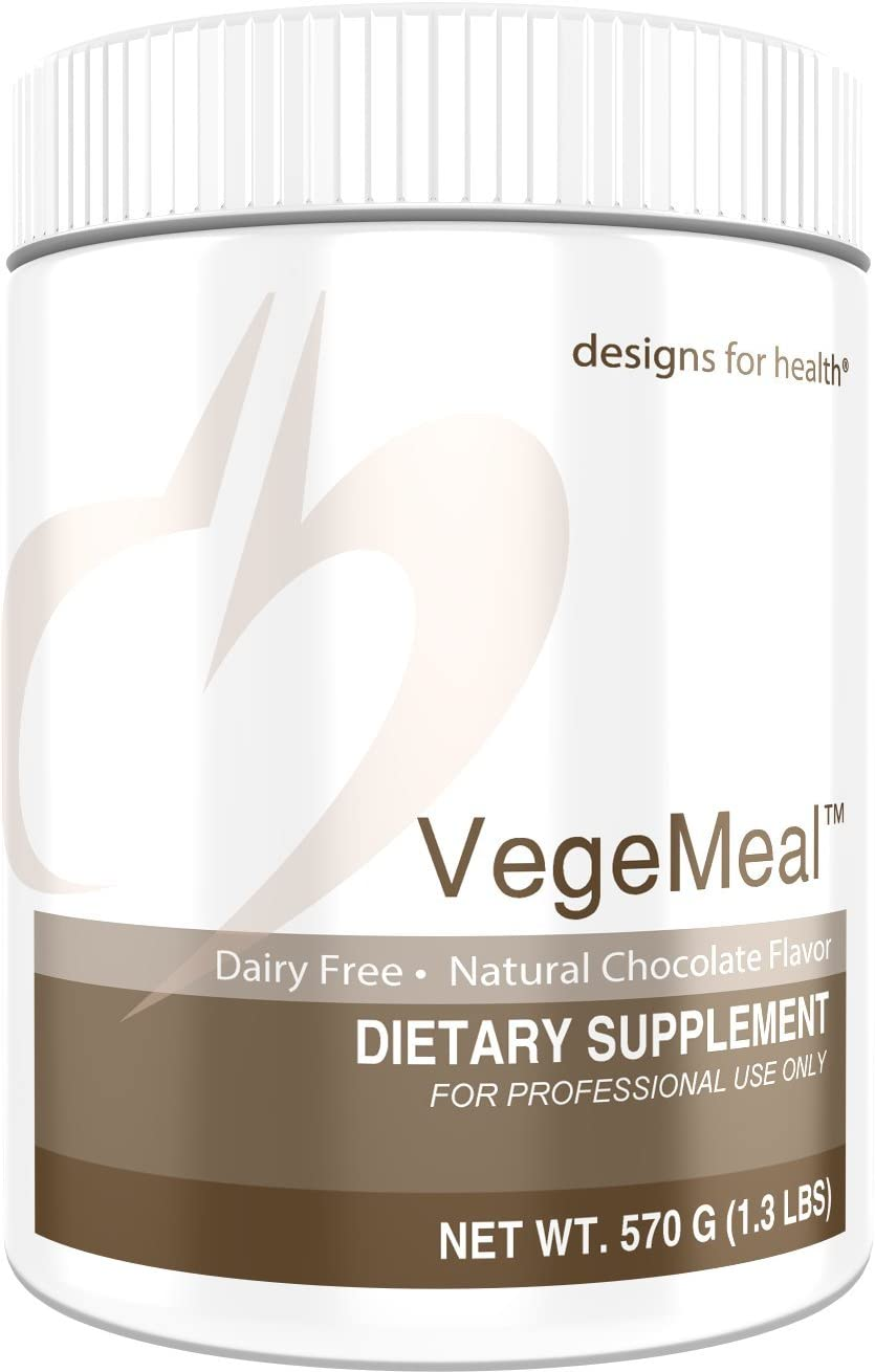 Designs for Health VegeMeal – Chocolate Pea Protein Meal Supplement with 5-MTHF Creatine 15 Servings 540g
