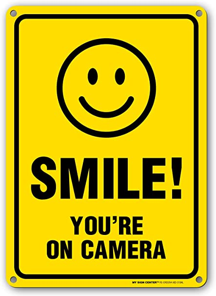 Smile You/'re On Camera Home House Business Video Surveillance Security Sign New