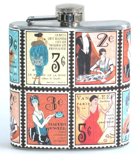 Flapper Party Girl Antique Stamps Print 6 oz Stainless Steel Liquor Hip Flask Gift
