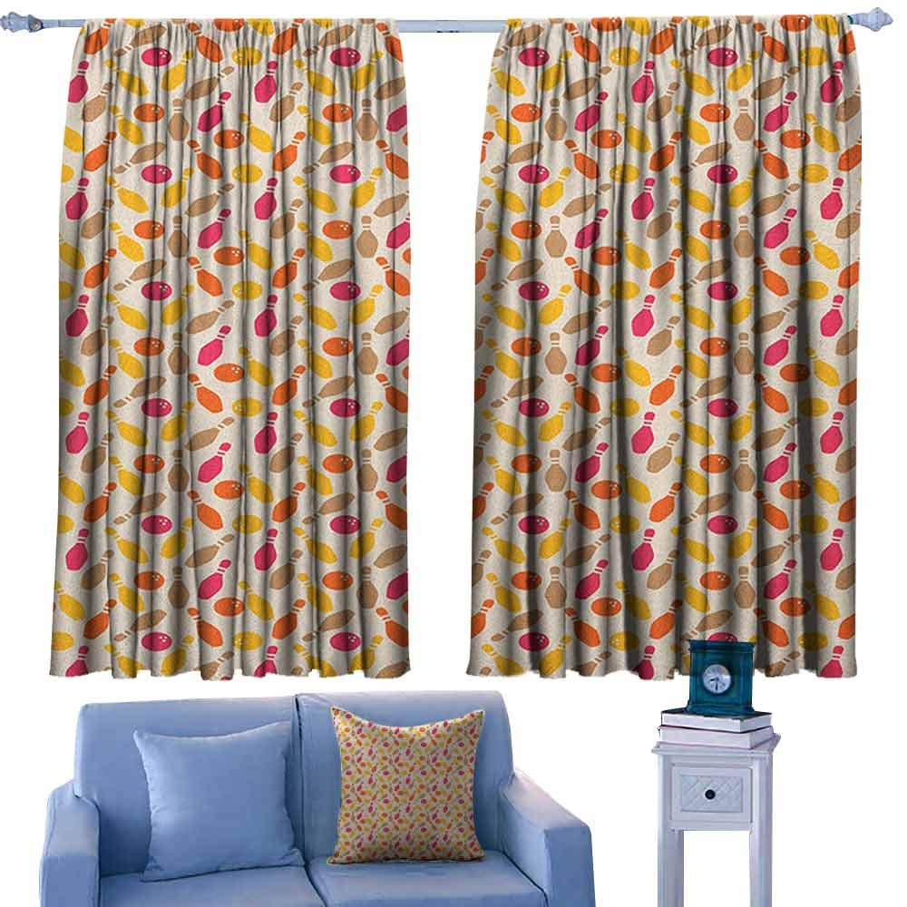 Bowling Modern Kids Curtain Skittle and Ball Silhouettes in Different Colors and Retro Style Leisure Pursuit,Decorative Curtains for Living Room,W63 x L72 Inch by ParadiseDecor