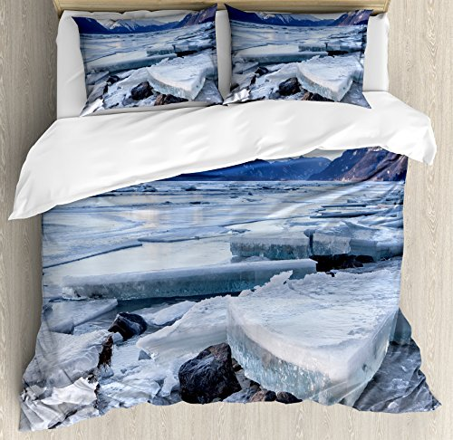 Alaska King Size Duvet Cover Set by Ambesonne, Ice Chunks on the Side of Chilkat River in North America Winter Season, Decorative 3 Piece Bedding Set with 2 Pillow Shams, - River North Side