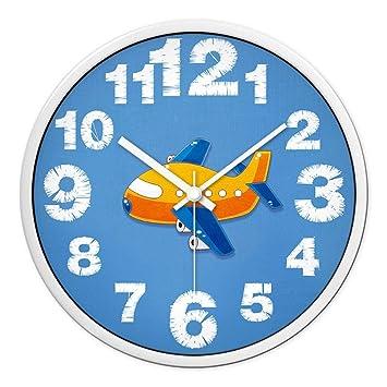 YHEGV Reloj de Pared Gracioso Pregunta, Hermosa casa del niño Casa Salón Relojes y Relojes despertadores Silent Wall-E Sol Cartoon 12 Provisional: ...
