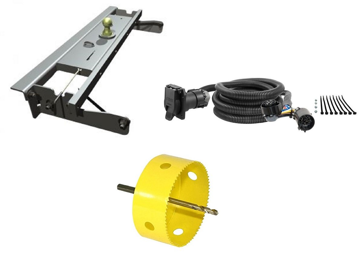 B&W Hitches GNRK1012 Turnoverball Gooseneck Hitch Kit w/ 4'' Hole Saw Drill Bit & 10' Wiring Harness Extension for Chevrolet/GMC Trucks
