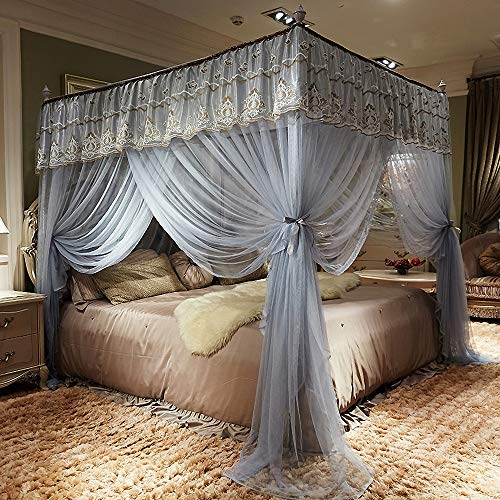 JQWUPUP Elegant Bed Curtains Canopy, Embroidery Ruffle 4 Corner Post Mosquito Net for Bed, Bed Canopy for Girls Kids Toddlers Crib Adult, Bedding Décor (Queen, Grey)