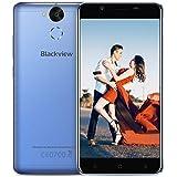 """Teléfonos Móviles Libres, Blackview P2 4G Smartphone 6000mAh Batería 9V 2A Carga Rápida, Android 7.0 4GB RAM + 64GB ROM, 13 MP + 8MP Cámaras 1920 * 1080 píxeles 5.5"""" FHD Smartphone Libre - Azul"""