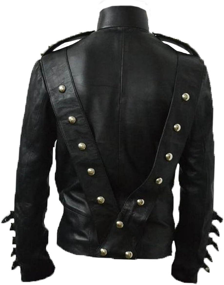 Michael Bad Era Cow Hide Leather Jacket with Belt Without Badges Black