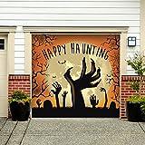 Outdoor Halloween Holiday Garage Door Banner Cover Mural Décoration - Happy Haunting Graveyard Zombie Hands - Outdoor Halloween Holiday Garage Door Banner Décor Sign 7'x 8'