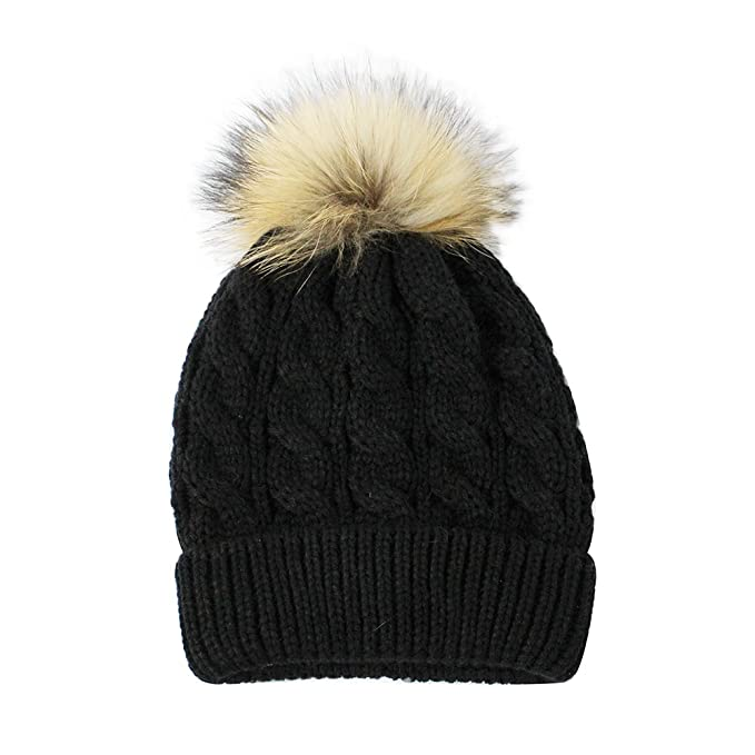 352dfb1f36b Natural Real Raccoon Fur Pompom Cable Beanie Winter Hat (Black) at ...
