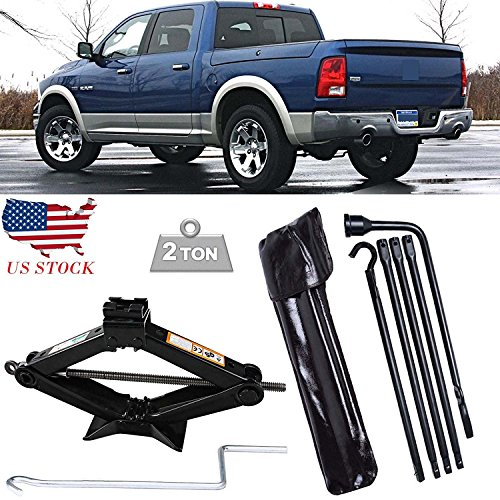 Spare Tire Lug Wrench (For 2002-2015 Dodge Ram 1500 Spare Tire Lug Wrench Tools Kit & 2T Scissor Jack)