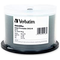 Verbatim 4.7 GB 8x DataLifePlus Silver Inkjet Printable Recordable Disc DVD-R, 50-Disc Spindle 95186