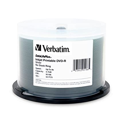 picture about Ink Jet Printable Dvd known as Verbatim DVD-R 4.7GB 8X DataLifePlus Silver Inkjet Printable Seem - 50pk Spindle