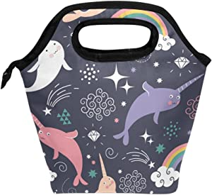 Lunch Tote Bag Seamless Narwhal Pattern Handbag Lunchbox Food Container Gourmet Tote Cooler Warm Pouch For School Work Office Travel Outdoor By Saobao