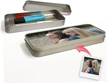 Estuche metálico personalizada con tus Fotos y Texto | Estuche escolar aluminio | Impresión Total sin bordes blancos | Color plateado: Amazon.es: Oficina y papelería