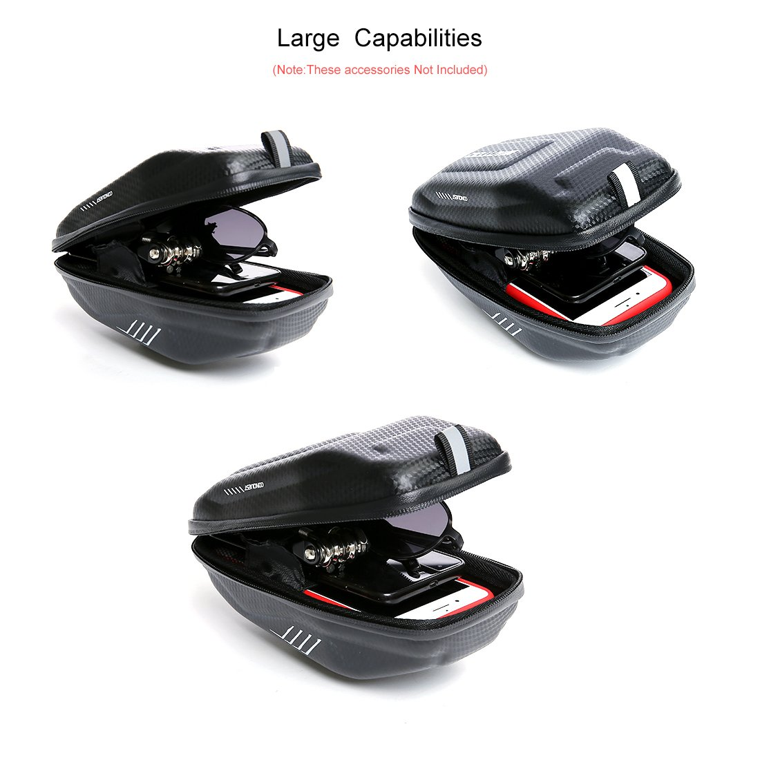 Wantdo Bicycle Saddle Bag with Highly Sealed Zipper for Repair Tools,Waterproof Bike Bag with Reflective Logo Outdoor Accessories Pocket Cycling Pack