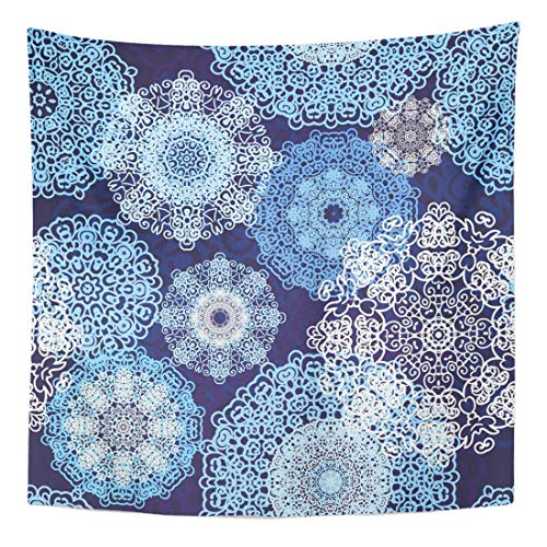 """Semtomn Tapestry Wall Hanging Home Art Medallion Laced Snowflakes Pattern Scarf Boho Christmas Ethnic Arabesque 50""""x 60"""" Dorm Apartment for Bedroom Living Room"""