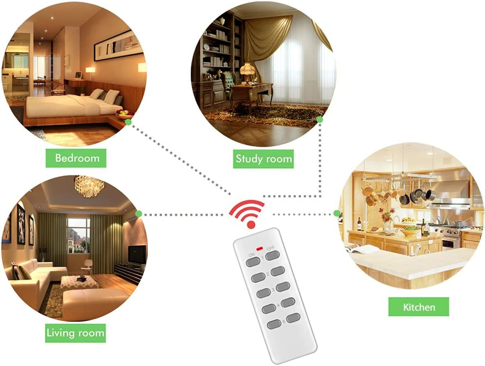 Wirelessly Turn Power On Off Wireless Electrical Outlet Plug for Household Appliances Lamp Light Wireless Outlet Switch with Remote Control 3 Pack with 1 Learning Code Remote Control