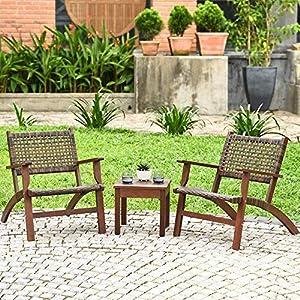YRRA 3 Piece Patio Conversation Set Solid Eucalyptus Brown