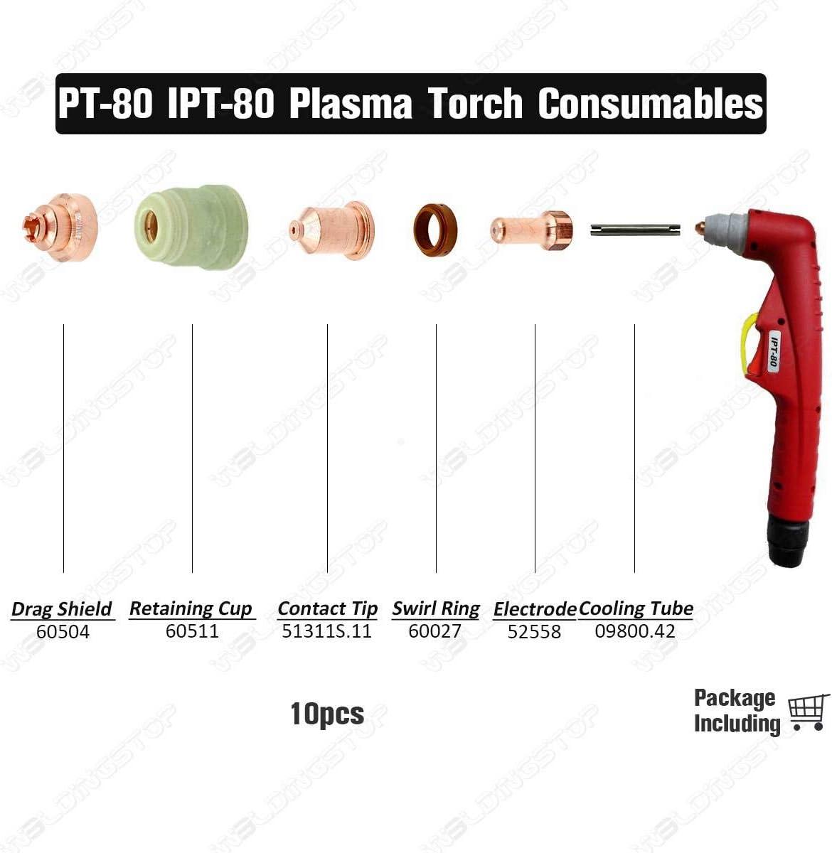 60A Fit PT-80 IPT80 Torch Consumables 10pcs Plasma Cutting 51311S.11 Contact Tip Nozzle 1.1mm 0.043 50A