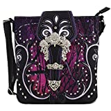 Camouflage Rhinestone Western Cross Body Handbags Concealed Carry Purse Country Women Single Shoulder Bag (Buckle Purple)