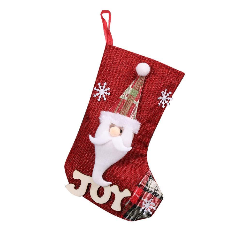 Christmas Stockings Staron Lovely Xmas Stockings Hanging Decoration Christmas Tree Ornaments Snowmen Santa Socks Party Supplies Toys Holiday Stockings Candy Gift Bags Holders (Santa Claus)
