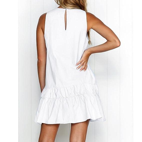 Misaky Womens/Girls/Ladies Summer Retro Print Evening Party Beach Mini Tank Dress at Amazon Womens Clothing store: