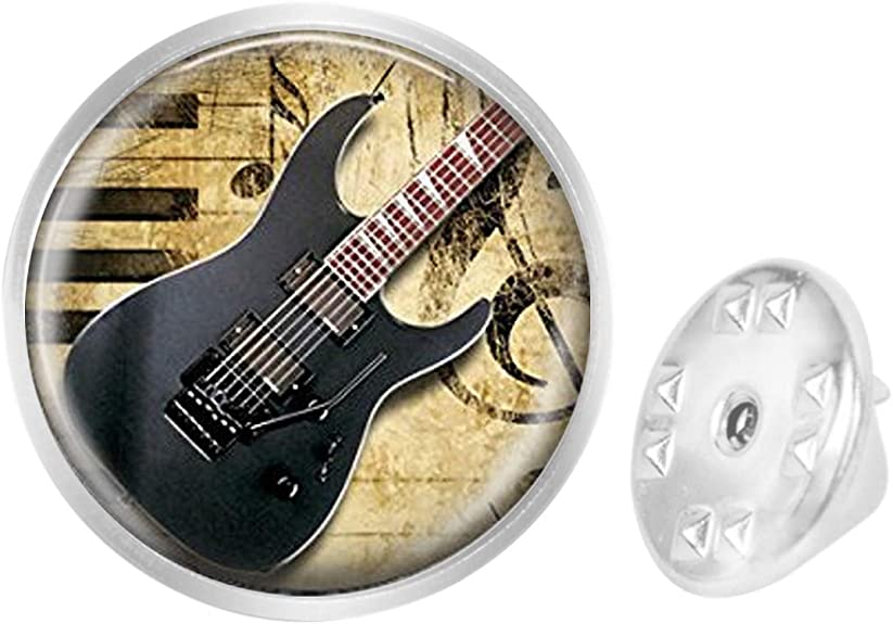 WAZZIT Round Metal Tie Tack Hat Lapel Pin Brooches Electric Guitar Instrument Banquet Badge Enamel Pins Trendy Accessory Jacket T-Shirt