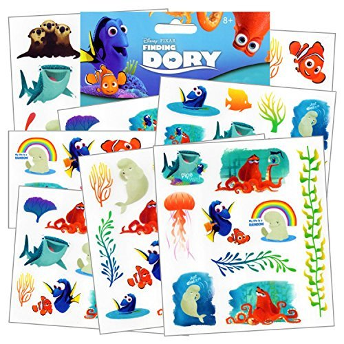 Disney Finding Dory Tattoos - 75 Assorted Temporary Tattoos ~ Dory, Nemo, Marlin, Squirt the Turtle, Bailey, and more! by Disney Studios ()