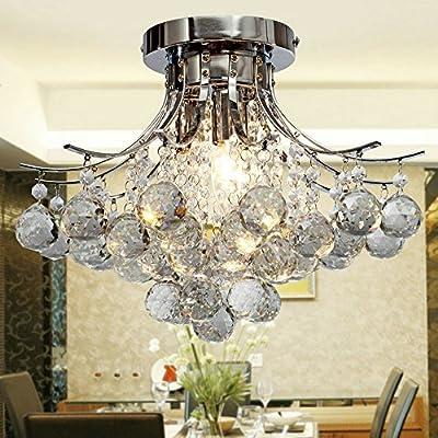 DINGGU™ Modern Chrome Finish 3 Lights Flush Mounted Crystal Ceiling Chandelier Lighting Fixtures