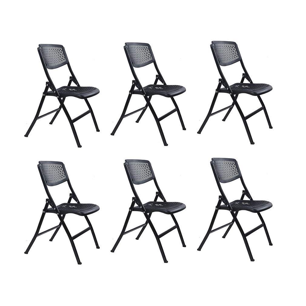 KTYXDE 金属製の鉄骨フレーム折りたたみ椅子プラスチックシートと背もたれ6個 椅子 (Color : Black) B07TDCY8LH Black
