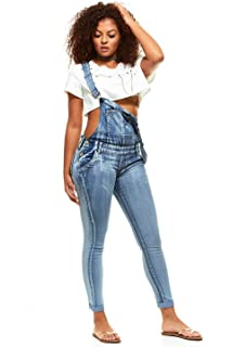 ec808e2ec7a0 Denim Overall Jeans for Women Bib Strap Button Skinny Fit Junior and Plus  Sizes Assorted Colors