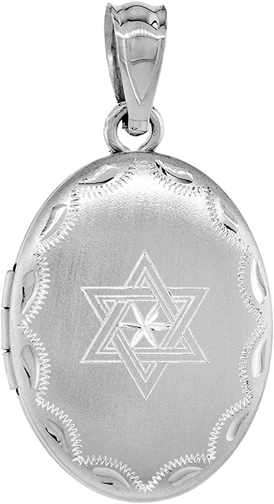 Sterling Silver Mezuzah Necklace Leaf Designs 1 inch with 1mm Box Chain 16-30 inch