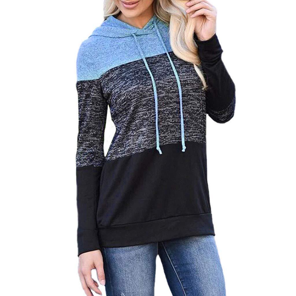 Redacel Women Pullover Tops, Patchwork Stripe Long Sleeve Hoodie Sweatshirt Hooded Top Blouse(XL,Blue) by Redacel