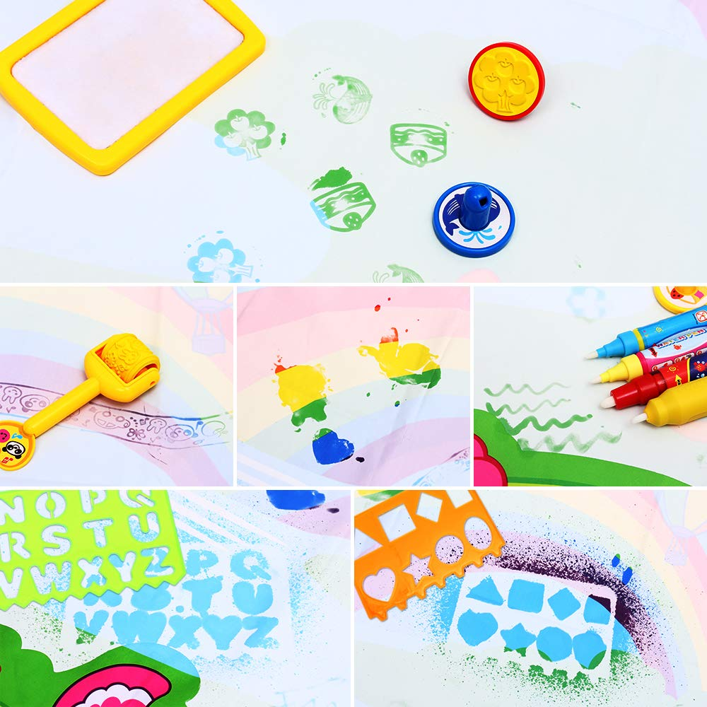 Aqua Doodle Mat X-Large Water Doodle Drawing Mat Kids Painting Writing Doodle Board Colors Aqua Magic Mat Educational Toys for Toddlers Boys Girls Kids 2 3 4 5 6-12 Year Old green X-large 48x36in