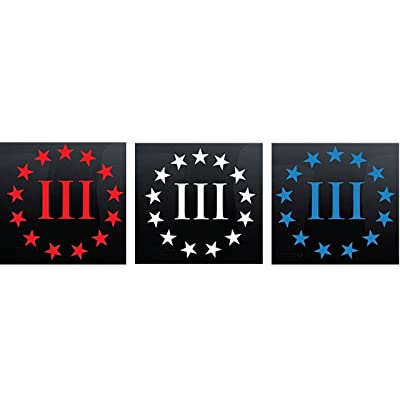 "CMI448 3-Pack (Red, White, Blue) 3"" x 3"" Three Percenter Vinyl Decal Sticker - 2nd Amendment - Molon Labe: Automotive"