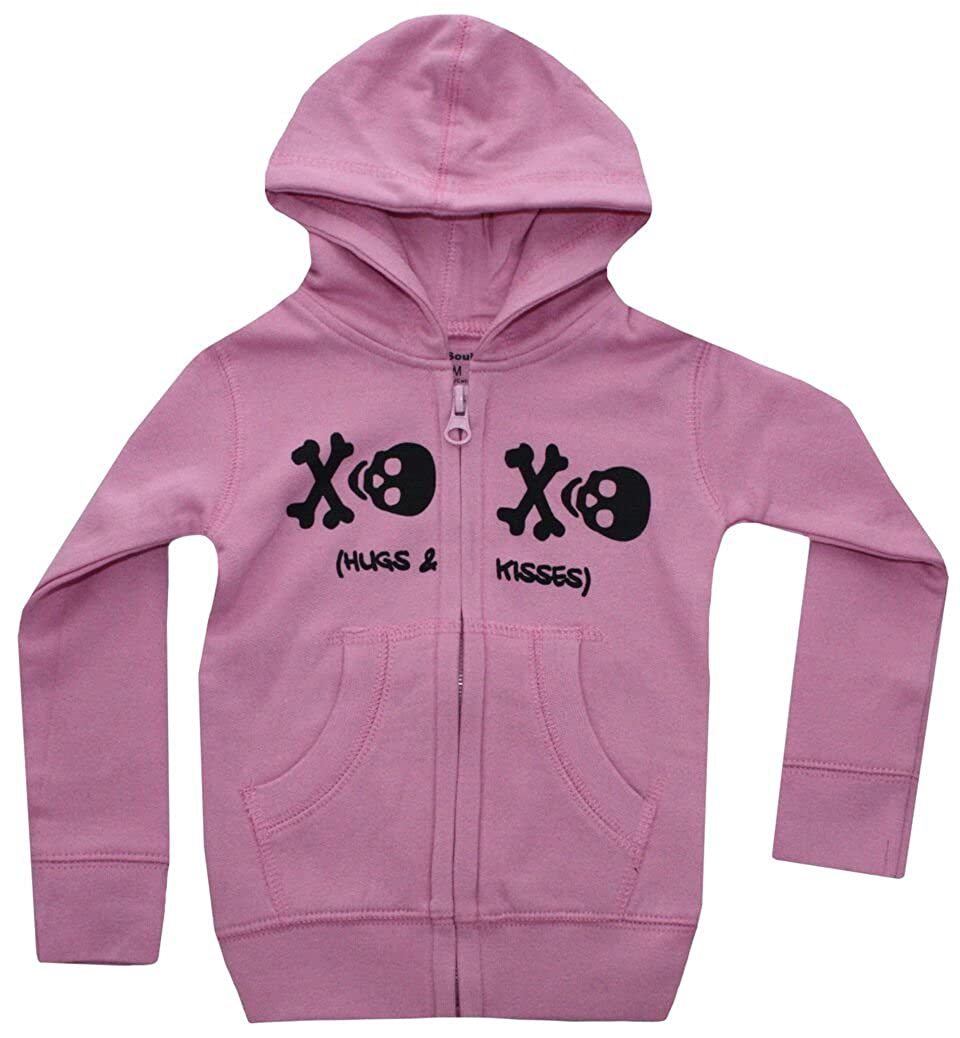 Silly Souls, Inc Skull XO infant Baby Girls Hooded Sweatshirt Pink and Black Silly Souls Inc fw16_$skXOPss