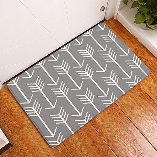 Arrow Rug (EZON-CH Modern Non Slip Simple Creative Arrow Home Bathroom Bath Shower Bedroom Mat Toilet Floor Door Mat Rug Carpet Pad Doormat(16x24IN)(White Grey Arrows))