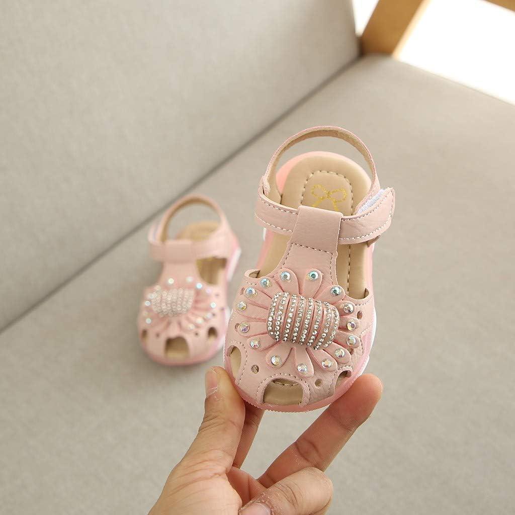 ❤️Rolayllove❤️ Children Baby Girl Crystal Flower Closed Toe Led Light Luminous Sport Sandals Sneaker Shoes