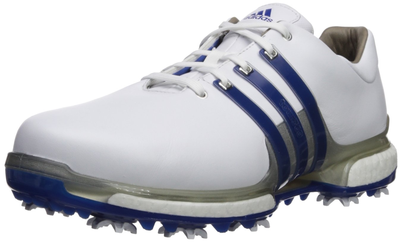 adidas Men's TOUR360 2.0 WD Golf-Shoes, FTWR White/Collegiate Royal/Silver Met, 7 Wide US