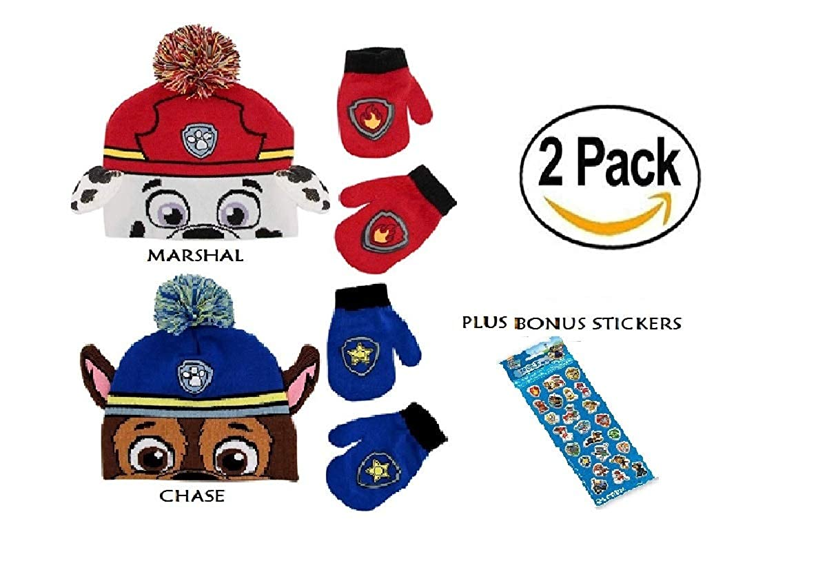 2 PACK - Paw Patrol Boys' Toddler Hat Beanie and Mitten Set Ages 2-4 W/BONUS STICKERS