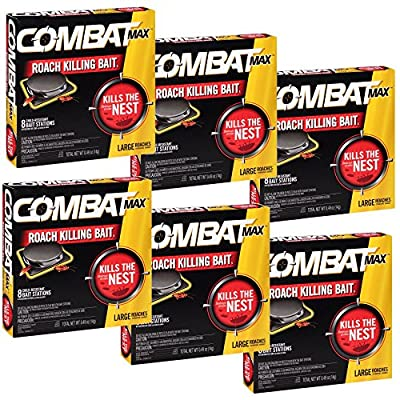 Combat Roach Killing Bait, Large Roach Bait Station, 8 Count (Pack of 6)
