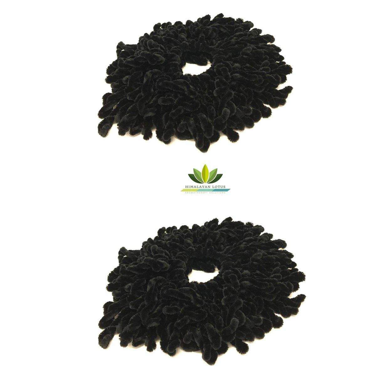 Volumising Hijab Scrunchie 2 Pack Plain Big Hair Ring Tie Bun Clip Hijab Scarf Volumizer Khaleeji - by Himalayan Lotus (Black 2)