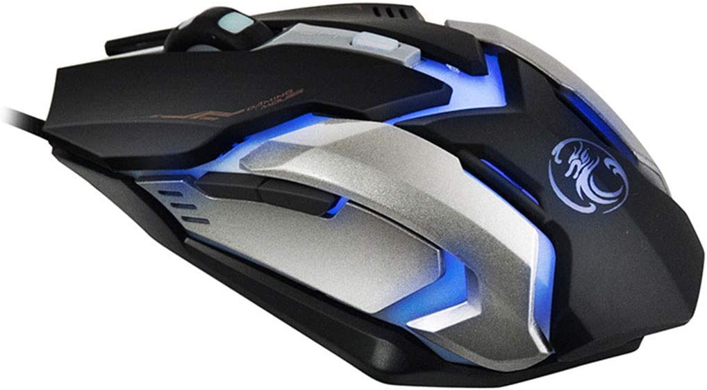 Color : Elegant Black+e-Commerce Box XUNHANG 4 Style Gaming Mouse Wired with Four-Color Breathing Backlight 2400 DPI 6 Buttons Ergonomic Gaming Mouse for PC
