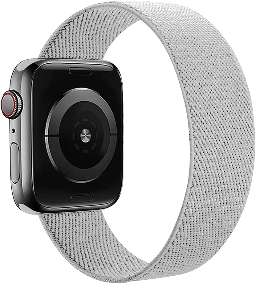 MAMEGO Elastic Bands Compatible with Apple Watch Band 38mm 40mm 42mm 44mm,Women Men Scrunchies Stretchy Solo Loop Sport Soft Nylon Wristband for iWatch Series SE/6/5/4/3/2/1(Storm Gray,M)