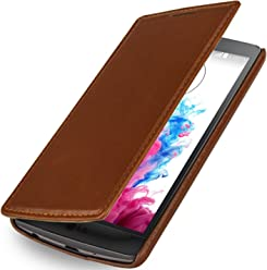 StilGut UltraSlim Case, custodia in vera pelle con apertura a libro per LG G3s, cognac