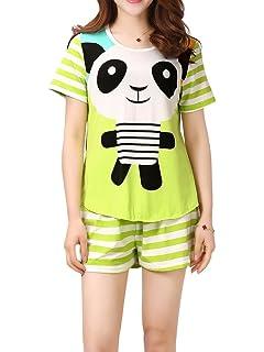 8d63ba488902 VENTELAN Women Pajama Set Cute Panda Pattern Short Sleeve Striped Shorts  Sleepwear