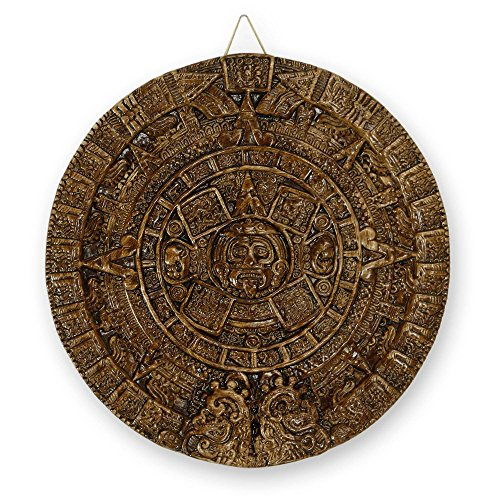 NOVICA Archaeological Ceramic Advent Calendar, Brown, 'Aztec Sun In Dark Terracotta' (Terra Cotta Plaque Sun)
